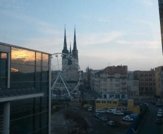 Halle: Blick aus der MDR-Hörfunkzentrale auf die Innenstadt
