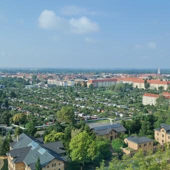 Leipzig: Blick vom MDR auf die Südvorstadt, Connewitz und Markkleeberg (14.08.14)