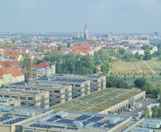 Leipzig: Blick von der MDR-Sendezentrale auf MediaCity und Innenstadt (14.08.14)